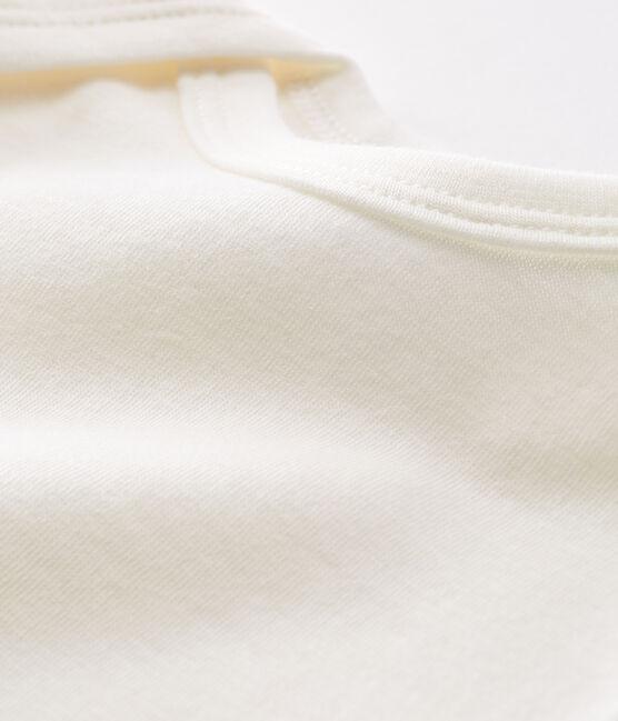Body de manga larga para bebé de lana y algodón blanco Marshmallow