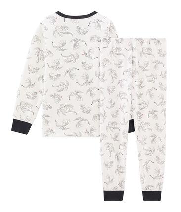 Pijama de terciopelo para niño pequeño blanco Marshmallow / blanco Multico