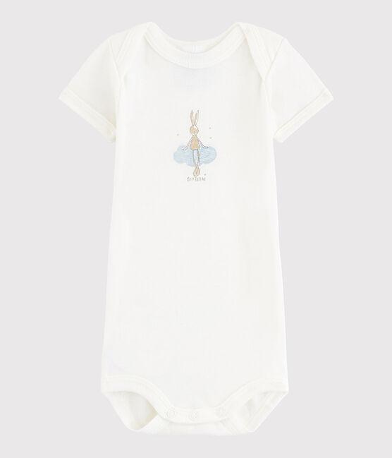 Bodi de manga corta de bebé niño blanco Lait