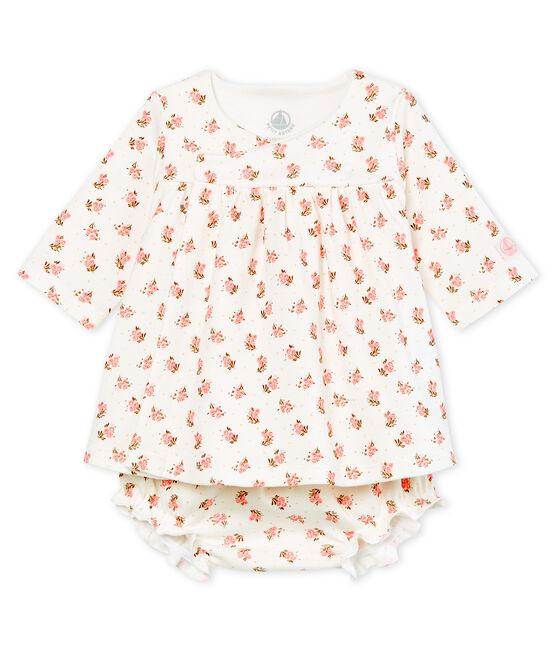 Vestido y braguita «bloomer» para bebé niña blanco Marshmallow / blanco Multico
