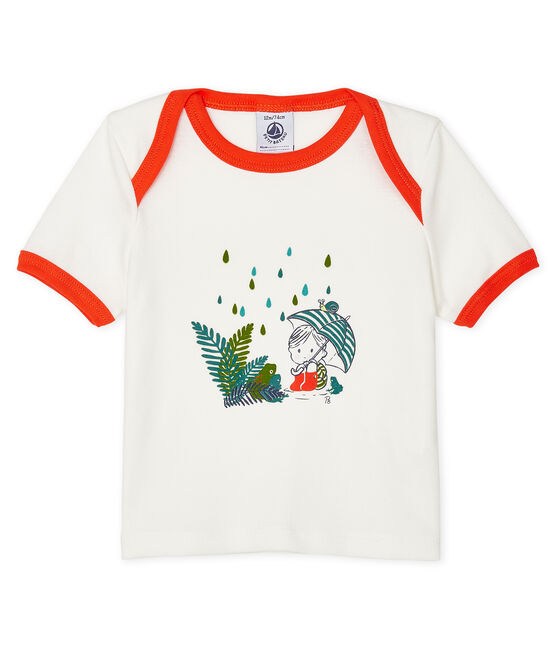 Camiseta de manga corta para bebé niño blanco Marshmallow