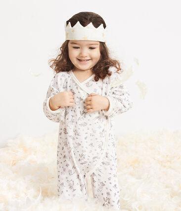 Pijama de terciopelo para bebé niña blanco Marshmallow / blanco Multico