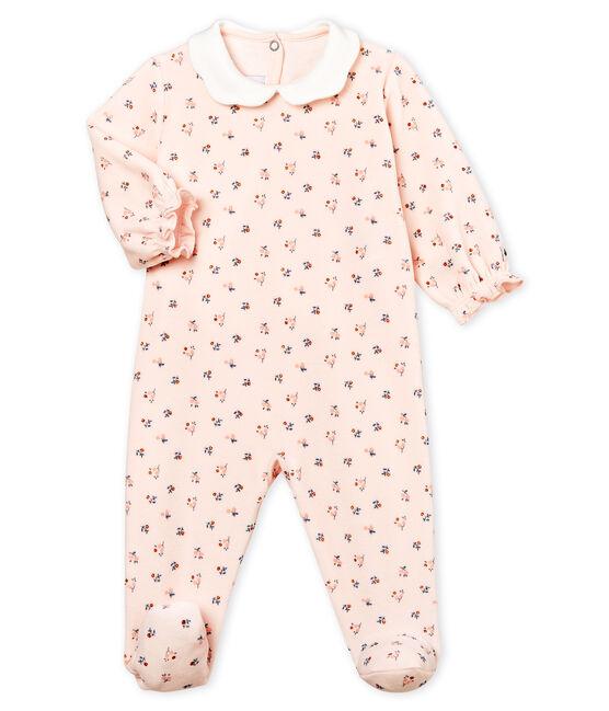 Pelele de terciopelo para bebé niña rosa Fleur / blanco Multico