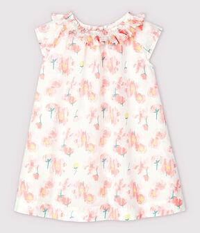 Vestido de manga corta de popelina de bebé niña blanco Marshmallow / blanco Multico