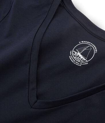Camiseta manga larga de algodón Sea Island para mujer azul Marine