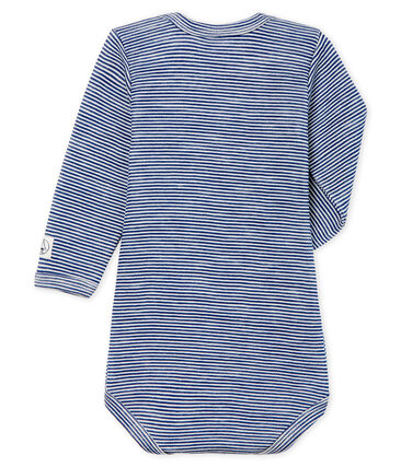 Body de manga larga para bebé de lana y algodón azul Medieval / blanco Marshmallow Cn