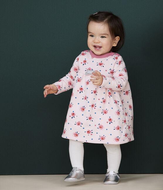 Vestido de manga larga para bebé niña rosa Minois / blanco Multico