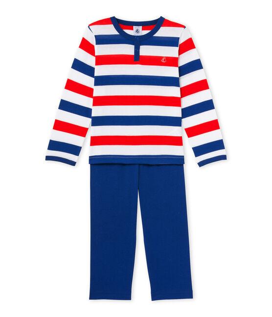 Pijama en jersey rayado para niño blanco Ecume / azul Source