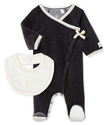 Lote de pijama y babero para bebé de terciopelo lote .