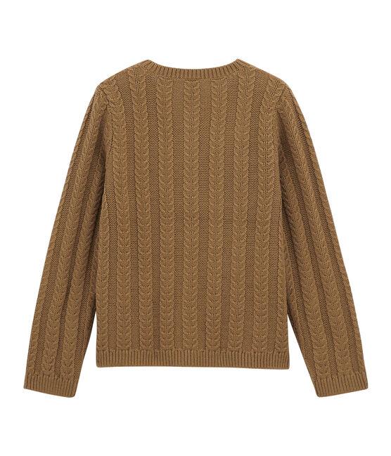 Cárdigan de lana y algodón marrón Brindille