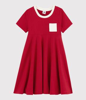 Vestido de manga corta de punto de niña rojo Terkuit