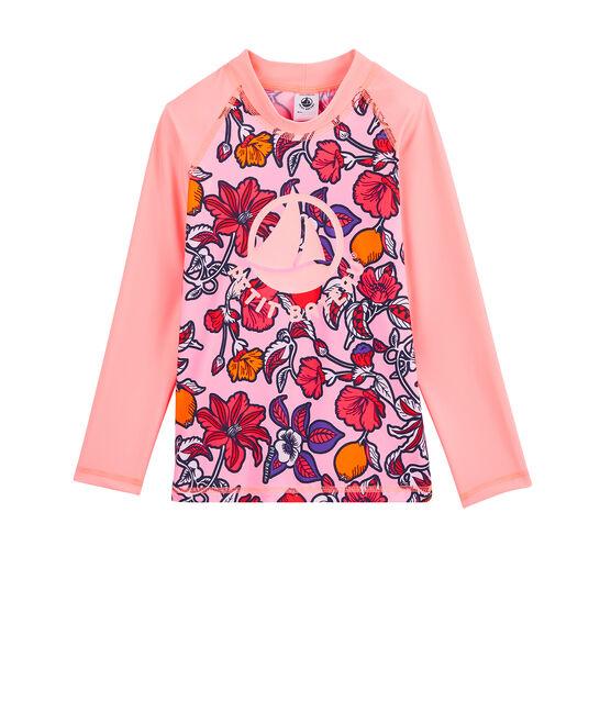 Camiseta anti-UV UPF 50+ ecorresponsable para niña rosa Patience / blanco Multico
