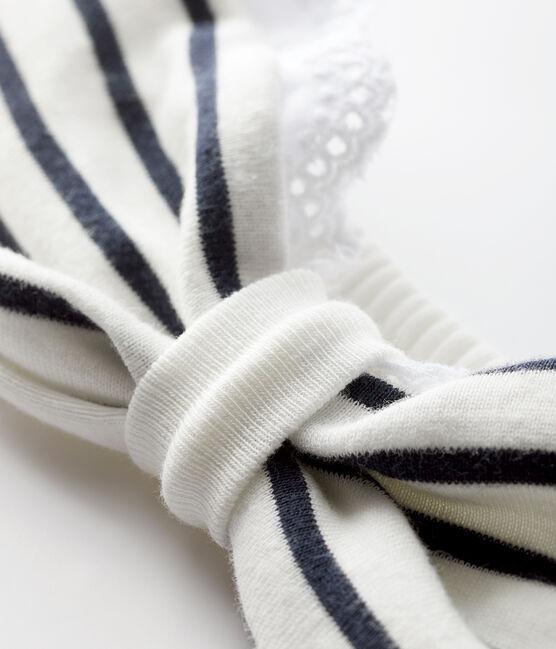 Diadema a rayas para bebé niña blanco Marshmallow / azul Smoking