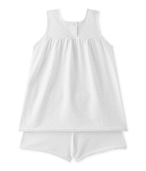 Pijama corto para niña con lunares y acabados en encaje blanco Ecume