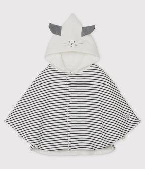 Capa de rayas con capucha de bebé de algodón ecológico blanco Marshmallow / azul Smoking