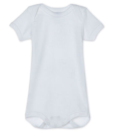 Bodi de manga corta para bebé blanco Ecume