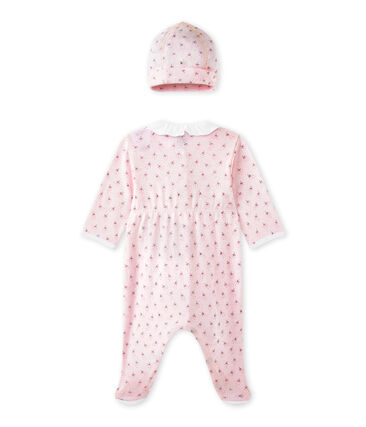 Pijama y gorrito de nacimiento bebé niña