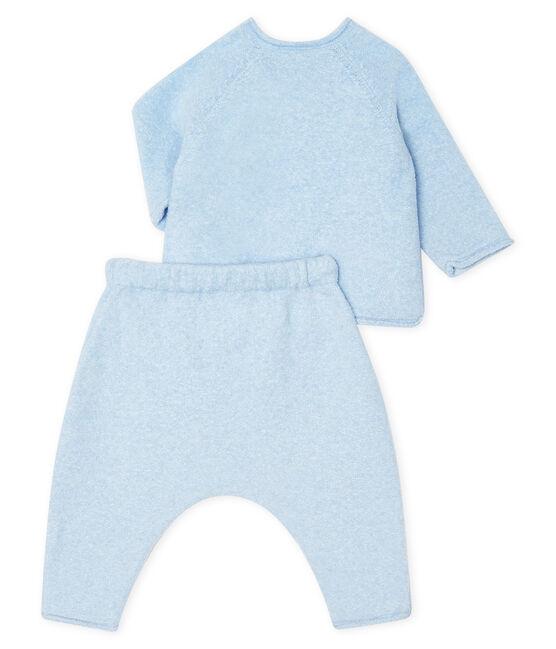 Conjunto de dos piezas para bebé niño, lana merinos y poliéster azul Toudou