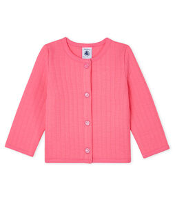 Cárdigan de tejido túbico acolchado para bebé niña rosa Cupcake