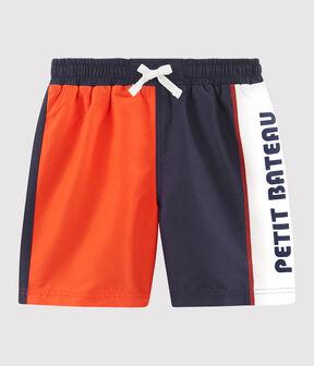 Shorts de playa efecto colorblock para niño azul Touareg / naranja Spicy