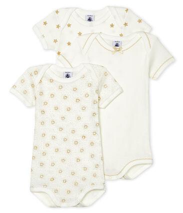 Tres bodis de manga corta para bebé de niña lote .