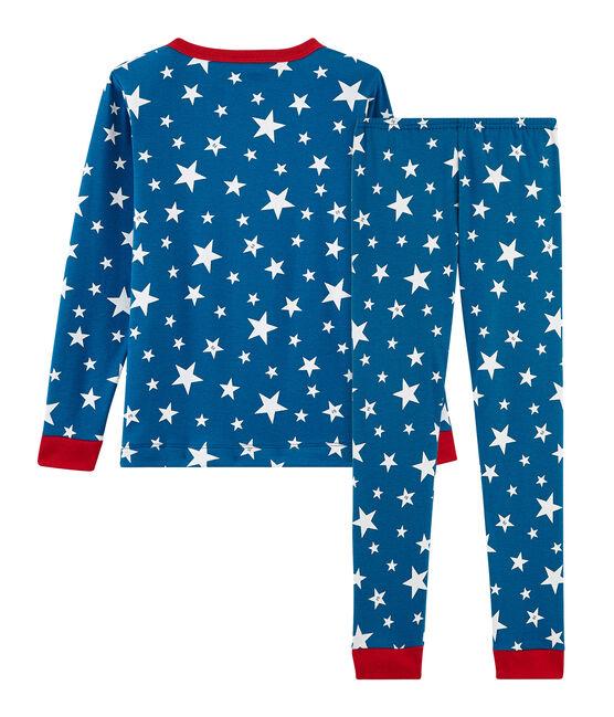 Pijama de corte muy ajustado de punto para niño azul Major / blanco Ecume