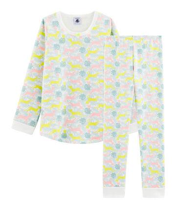 Pijama de muletón para niña blanco Marshmallow / blanco Multico