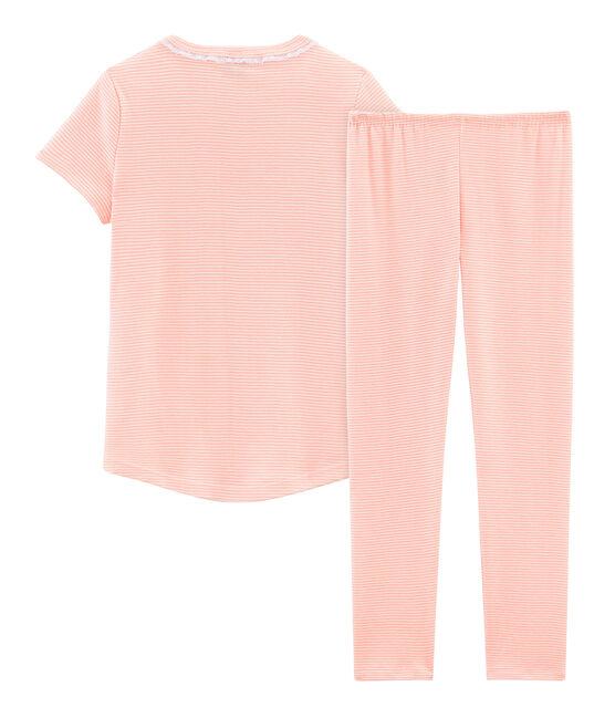Pijama manga corta de punto para niña rosa Rosako / blanco Marshmallow