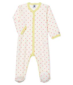 Pijama de punto para bebé de niña blanco Marshmallow / rosa Gretel