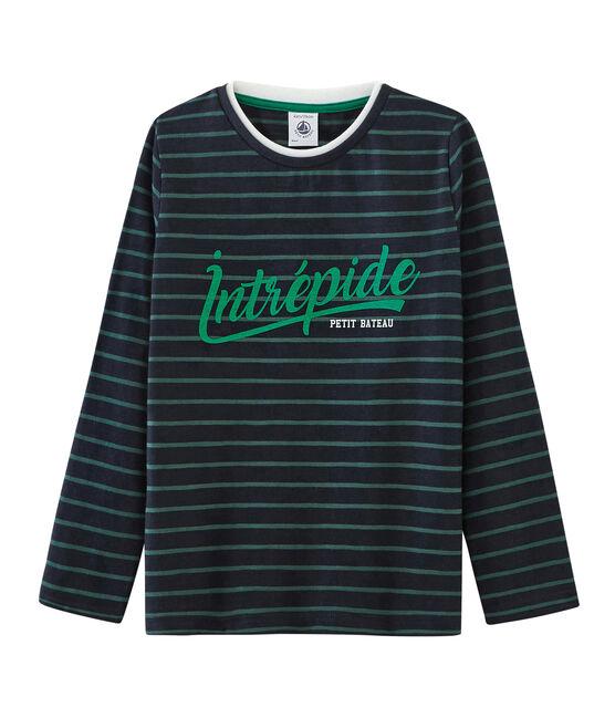Camiseta de manga larga para niño azul Smoking / verde Sousbois