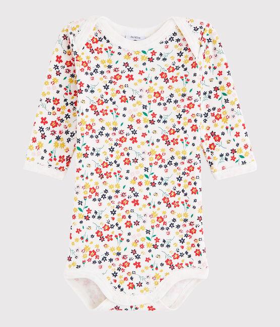 Bodi de manga larga de bebé niña blanco Marshmallow / blanco Multico