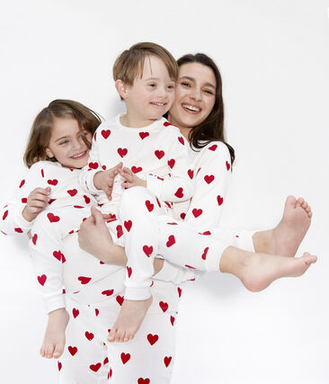 Pijama de punto para chica - chico blanco Marshmallow / rojo Terkuit