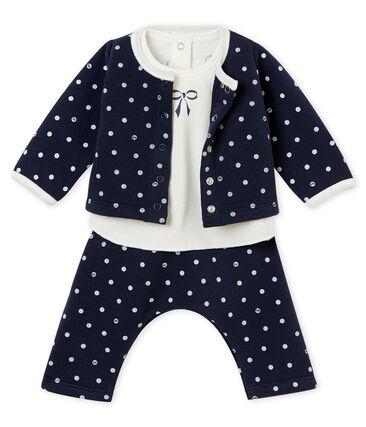 Conjunto de 3 piezas de lunares para bebé niña azul Smoking / blanco Marshmallow