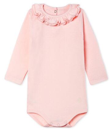 Body de manga larga lisa con cuello isabelino para bebé niña rosa Fleur Cn