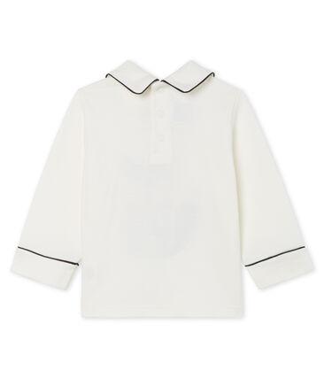 Camiseta de manga larga con cuello para bebé niño blanco Marshmallow Cn
