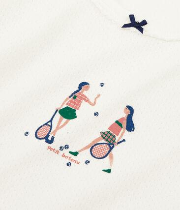 Pijama de punto para niña blanco Marshmallow / rosa Rosako