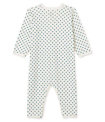 Pijama sin pies para bebé niña acanalado blanco Marshmallow / azul Contes Cn