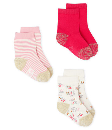 Lote de 3 pares de calcetines para bebé niña rosa Charme