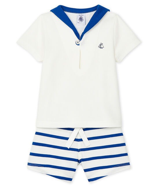 Conjunto de dos piezas para bebé niño blanco Marshmallow / azul Surf