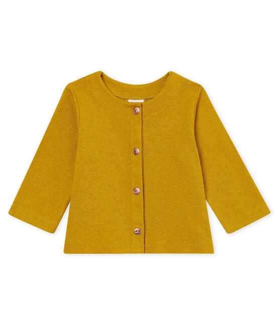 Cárdigan de algodón/lino para bebé niña amarillo Bamboo
