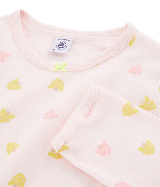 Pijama de punto para niña rosa Fleur / blanco Multico