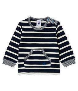 Camiseta de manga larga a rayas para bebé niño azul Smoking / blanco Marshmallow