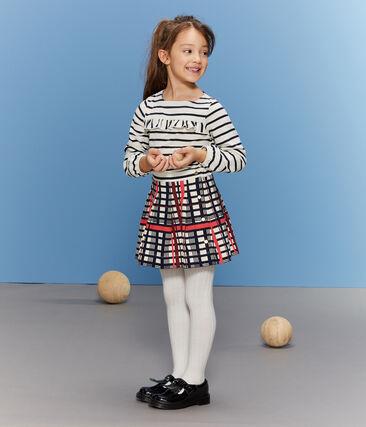 Falda de cuadros plisada para niña blanco Marshmallow / blanco Multico