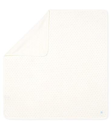 Trapo de maternidad para bebé de punto blanco Marshmallow / azul Acier