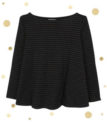 Camiseta marinera con forma de corola para mujer negro Noir / amarillo Dore