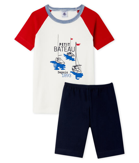 Pijama corto de corte muy ajustado de punto para niño azul Smoking / blanco Multico