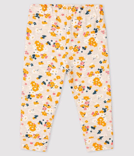 Pantalón de tela túbica para bebé niña beige Montelimar / blanco Multico