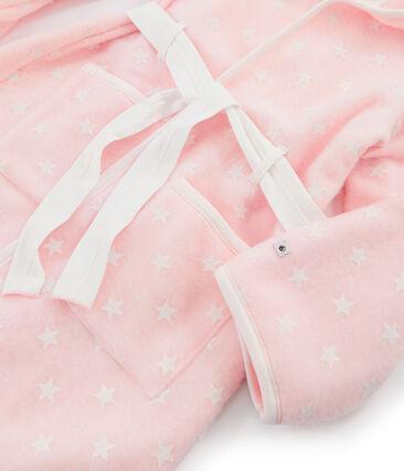 Bata de casa infantil de polar rosa Minois / blanco Marshmallow