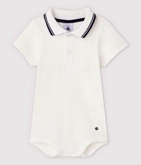 Body de cuello polo de algodón y manga corta de bebé niño blanco Marshmallow