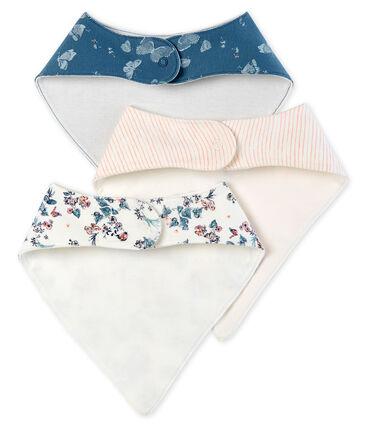 Lote de tres baberos de algodón para bebé de niña